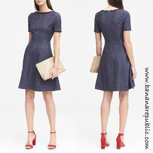 Banana Republic Fit & Flare Raw Edge Denim Dress